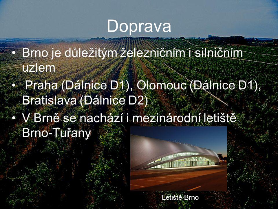 Doprava Brno je důležitým železničním i silničním uzlem Praha (Dálnice D1), Olomouc (Dálnice D1), Bratislava (Dálnice D2) V Brně se nachází i mezináro