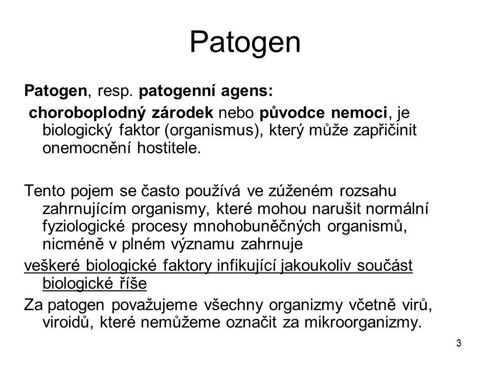 3 Patogen Patogen, resp. patogenní agens: choroboplodný zárodek nebo původce nemoci, je biologický faktor (organismus), který může zapřičinit onemocně