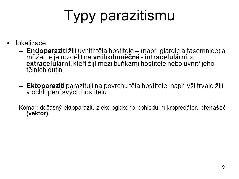 9 Typy parazitismu lokalizace –Endoparaziti žijí uvnitř těla hostitele – (např. giardie a tasemnice) a můžeme je rozdělit na vnitrobuněčné - intracelu