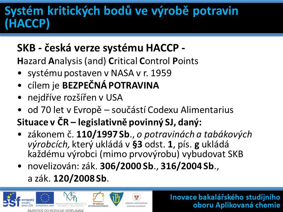 Systém kritických bodů ve výrobě potravin (HACCP) SKB - česká verze systému HACCP - Hazard Analysis (and) Critical Control Points systému postaven v NASA v r.