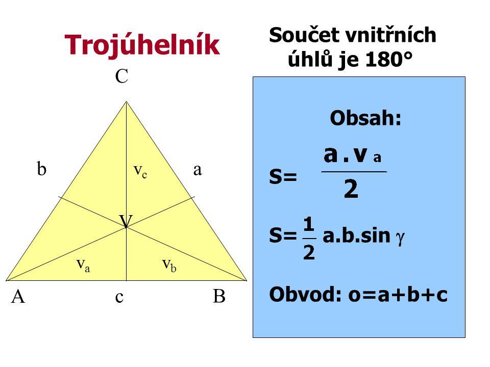 Trojúhelník Součet vnitřních úhlů je 180° Obsah: S= S= a.b.sin  Obvod: o=a+b+c A B C c ab vcvc vava vbvb V