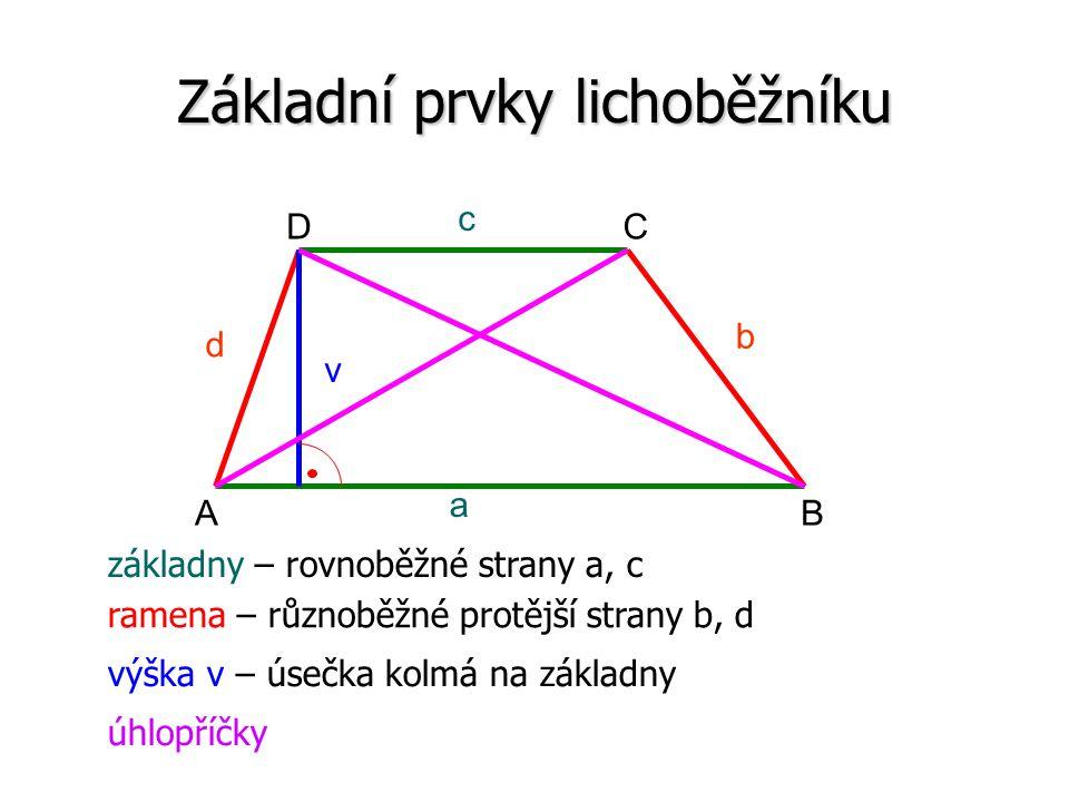 Základní prvky lichoběžníku a c b d v AB CD základny – rovnoběžné strany a, c ramena – různoběžné protější strany b, d výška v – úsečka kolmá na základny úhlopříčky