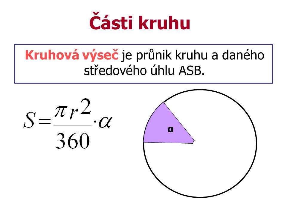 Části kruhu Kruhová výseč je průnik kruhu a daného středového úhlu ASB. α