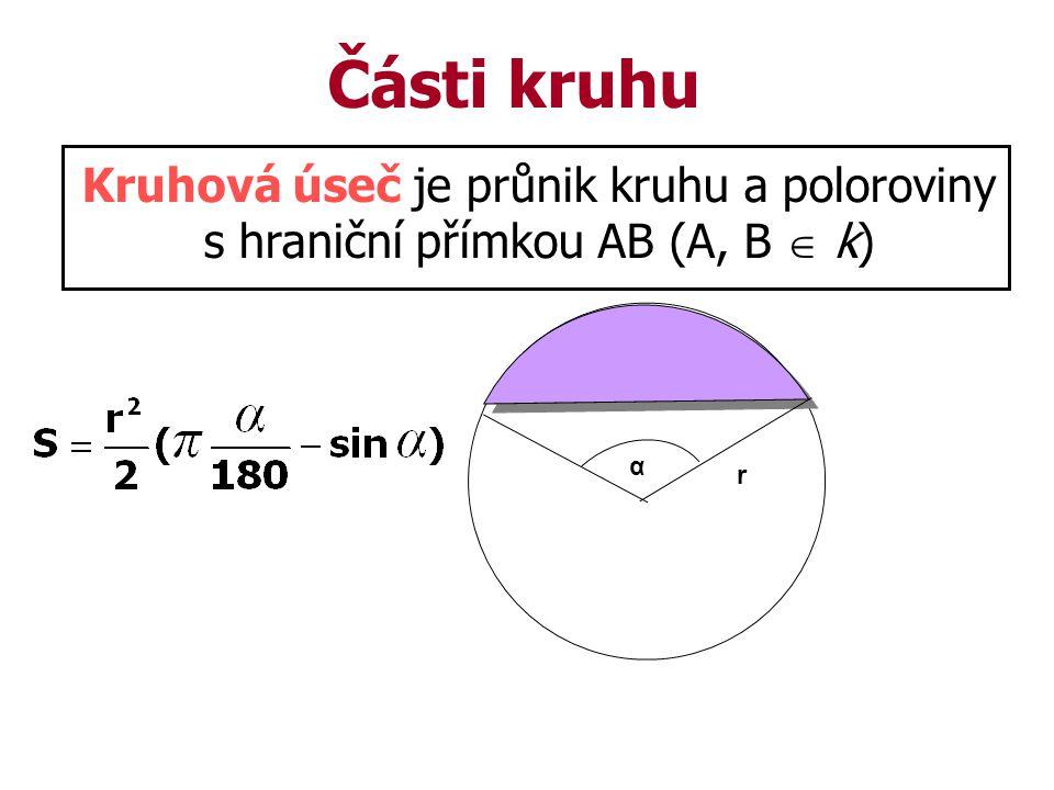 Části kruhu Kruhová úseč je průnik kruhu a poloroviny s hraniční přímkou AB (A, B  k) α r