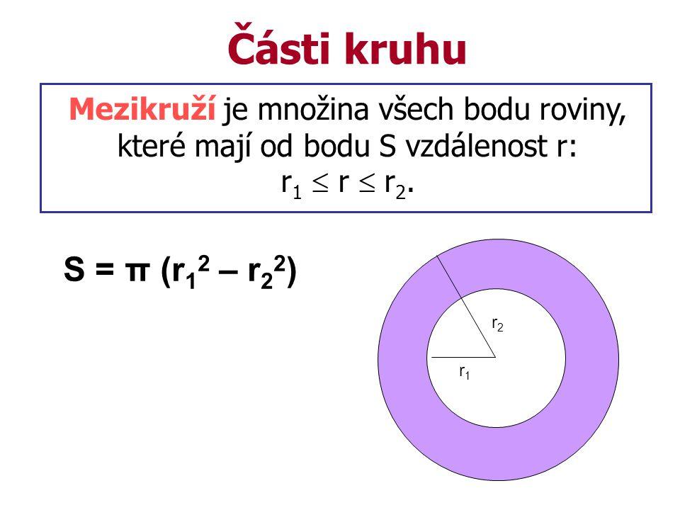 Části kruhu Mezikruží je množina všech bodu roviny, které mají od bodu S vzdálenost r: r 1  r  r 2.