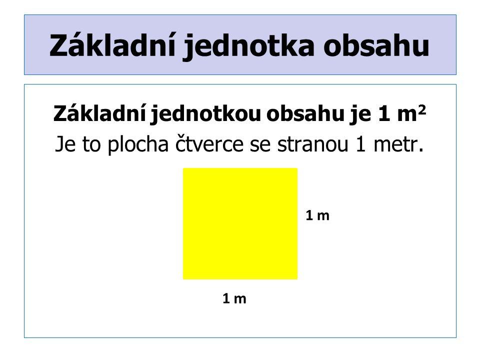 Základní jednotka obsahu Základní jednotkou obsahu je 1 m 2 Je to plocha čtverce se stranou 1 metr.