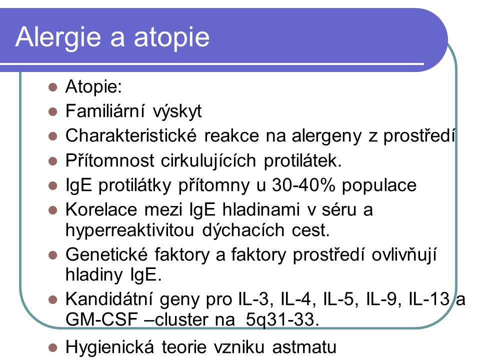 Alergie a atopie Atopie: Familiární výskyt Charakteristické reakce na alergeny z prostředí Přítomnost cirkulujících protilátek.