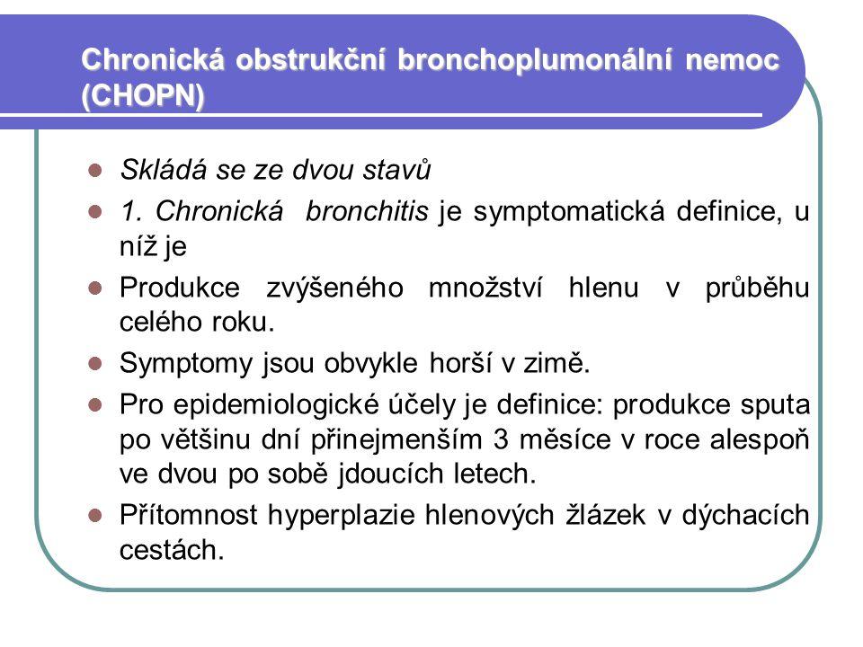 Chronická obstrukční bronchoplumonální nemoc (CHOPN) Skládá se ze dvou stavů 1.