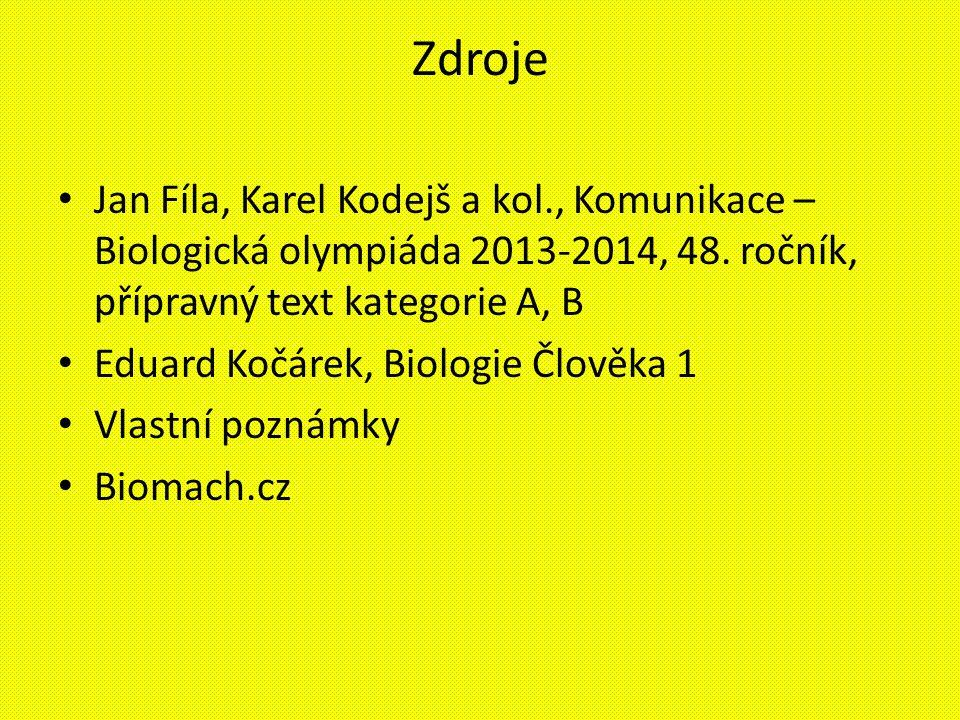 Zdroje Jan Fíla, Karel Kodejš a kol., Komunikace – Biologická olympiáda 2013-2014, 48. ročník, přípravný text kategorie A, B Eduard Kočárek, Biologie