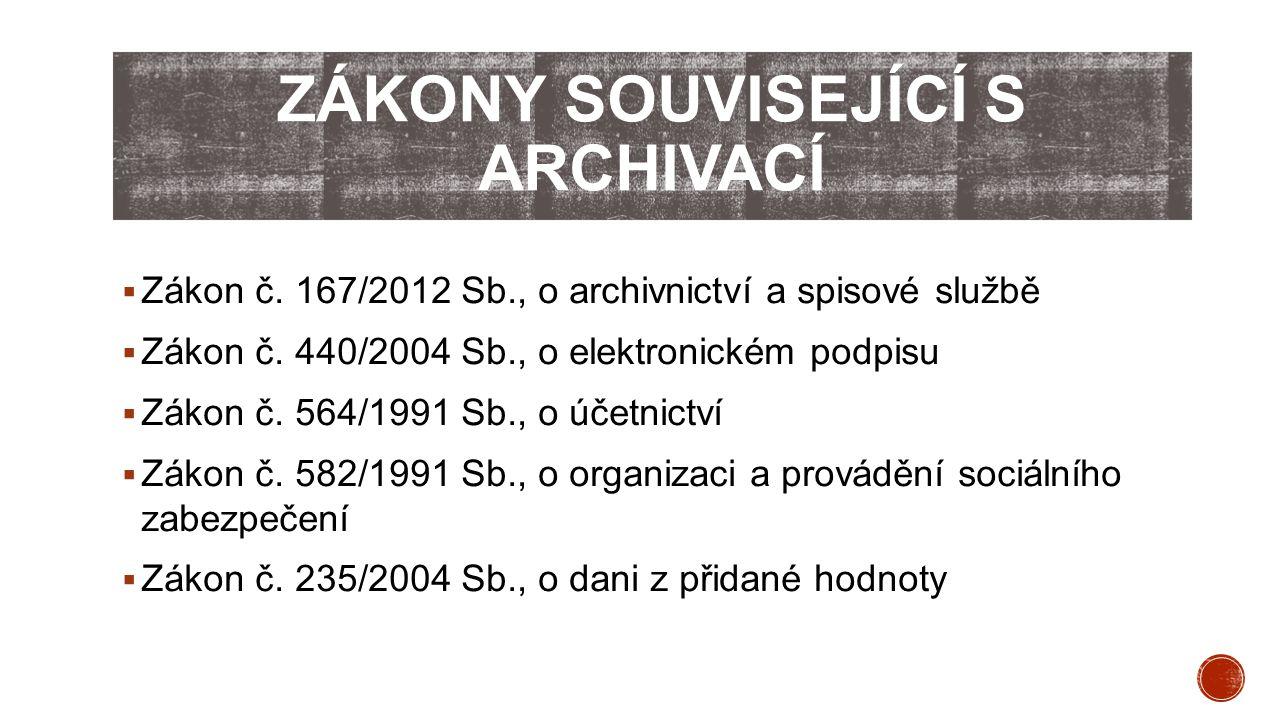  Zákon č. 167/2012 Sb., o archivnictví a spisové službě  Zákon č. 440/2004 Sb., o elektronickém podpisu  Zákon č. 564/1991 Sb., o účetnictví  Záko