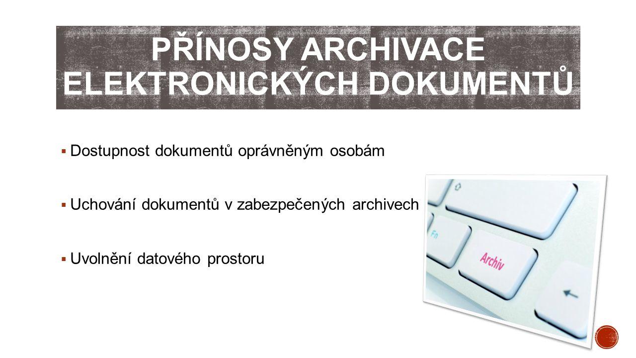  Dostupnost dokumentů oprávněným osobám  Uchování dokumentů v zabezpečených archivech  Uvolnění datového prostoru
