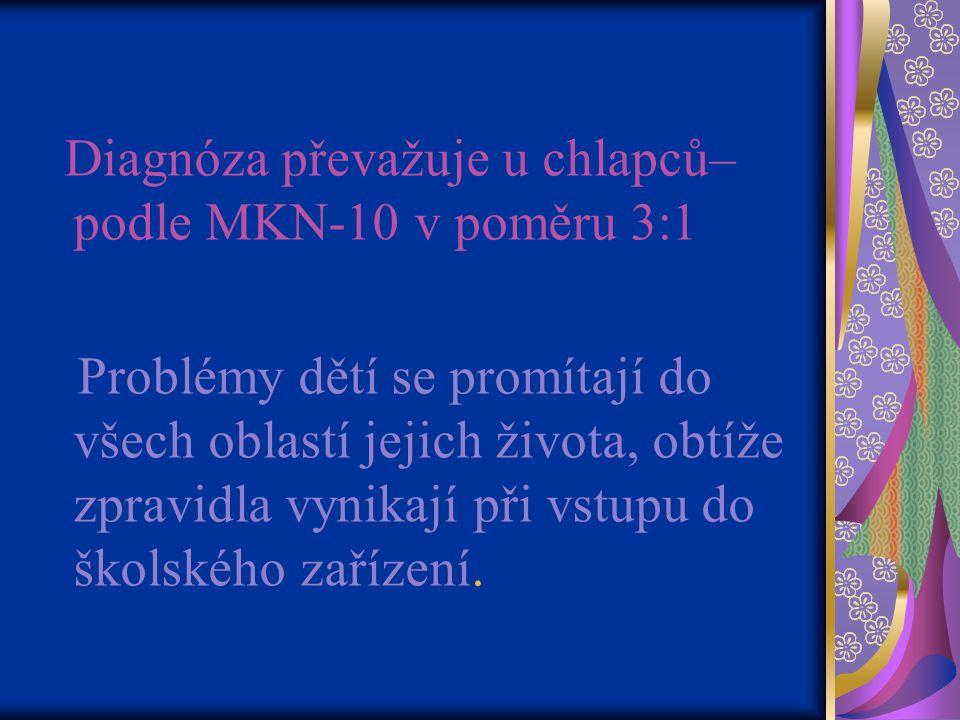 Diagnóza převažuje u chlapců– podle MKN-10 v poměru 3:1 Problémy dětí se promítají do všech oblastí jejich života, obtíže zpravidla vynikají při vstupu do školského zařízení.