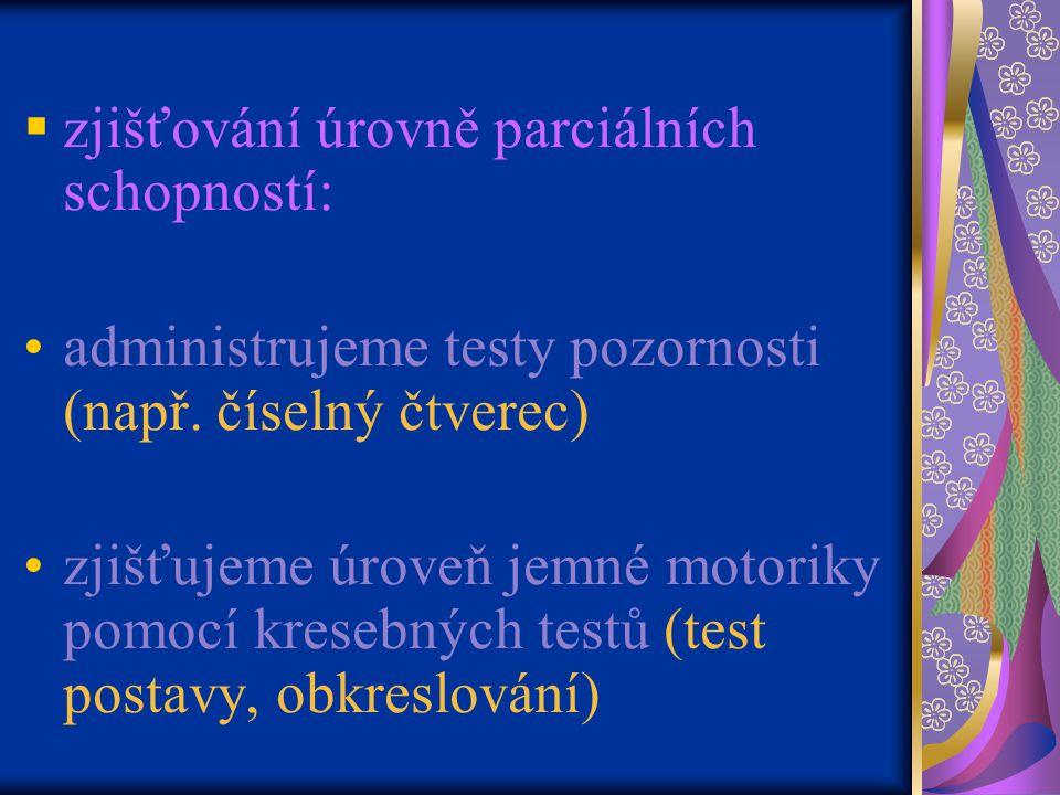  zjišťování úrovně parciálních schopností: administrujeme testy pozornosti (např.