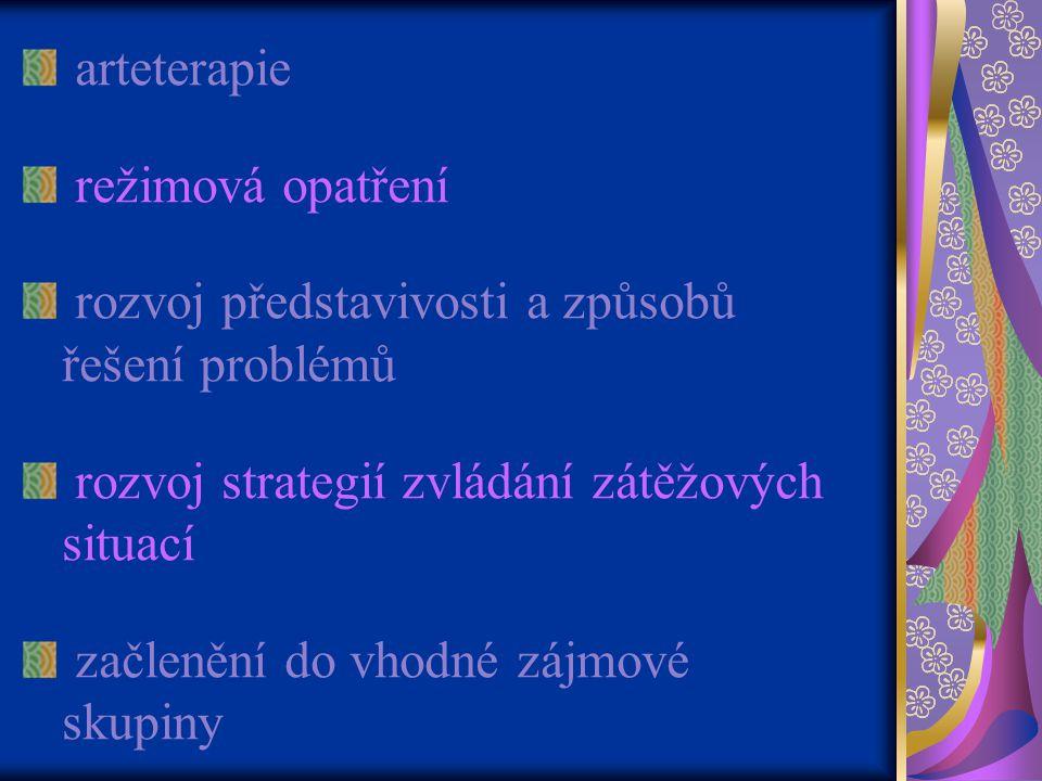 arteterapie režimová opatření rozvoj představivosti a způsobů řešení problémů rozvoj strategií zvládání zátěžových situací začlenění do vhodné zájmové skupiny