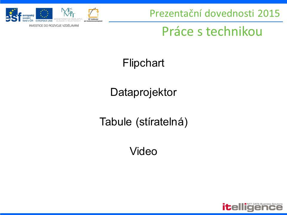Prezentační dovednosti 2015 Práce s technikou Flipchart Dataprojektor Tabule (stíratelná) Video
