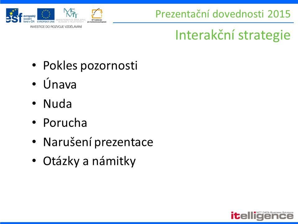 Prezentační dovednosti 2015 Interakční strategie Pokles pozornosti Únava Nuda Porucha Narušení prezentace Otázky a námitky