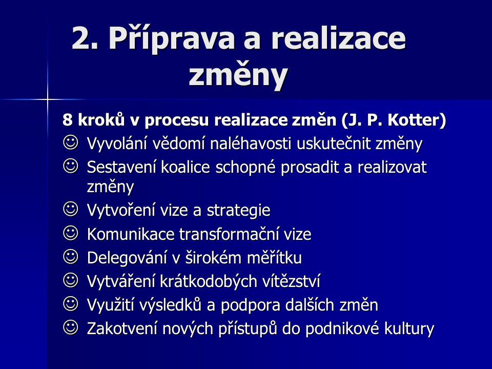 2. Příprava a realizace změny 8 kroků v procesu realizace změn (J. P. Kotter) Vyvolání vědomí naléhavosti uskutečnit změny Vyvolání vědomí naléhavosti
