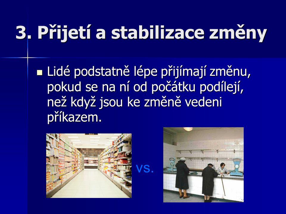 3. Přijetí a stabilizace změny Lidé podstatně lépe přijímají změnu, pokud se na ní od počátku podílejí, než když jsou ke změně vedeni příkazem. vs.
