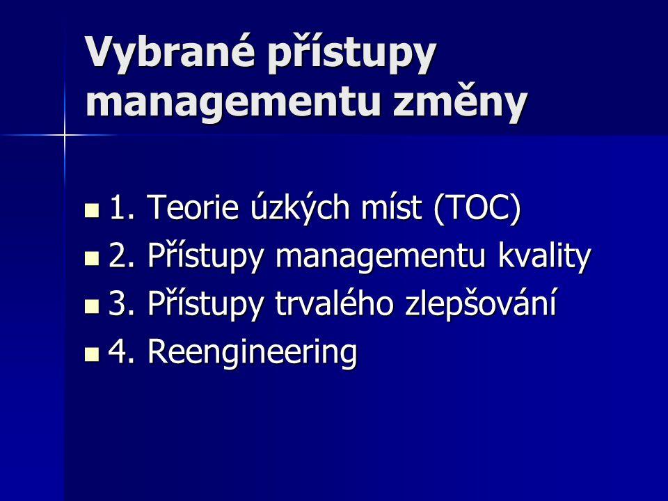 Vybrané přístupy managementu změny 1. Teorie úzkých míst (TOC) 1. Teorie úzkých míst (TOC) 2. Přístupy managementu kvality 2. Přístupy managementu kva
