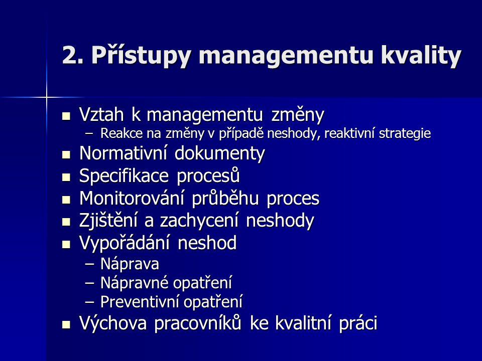 2. Přístupy managementu kvality Vztah k managementu změny Vztah k managementu změny –Reakce na změny v případě neshody, reaktivní strategie Normativní