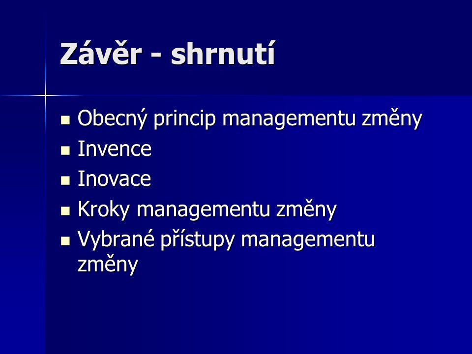 Závěr - shrnutí Obecný princip managementu změny Obecný princip managementu změny Invence Invence Inovace Inovace Kroky managementu změny Kroky manage