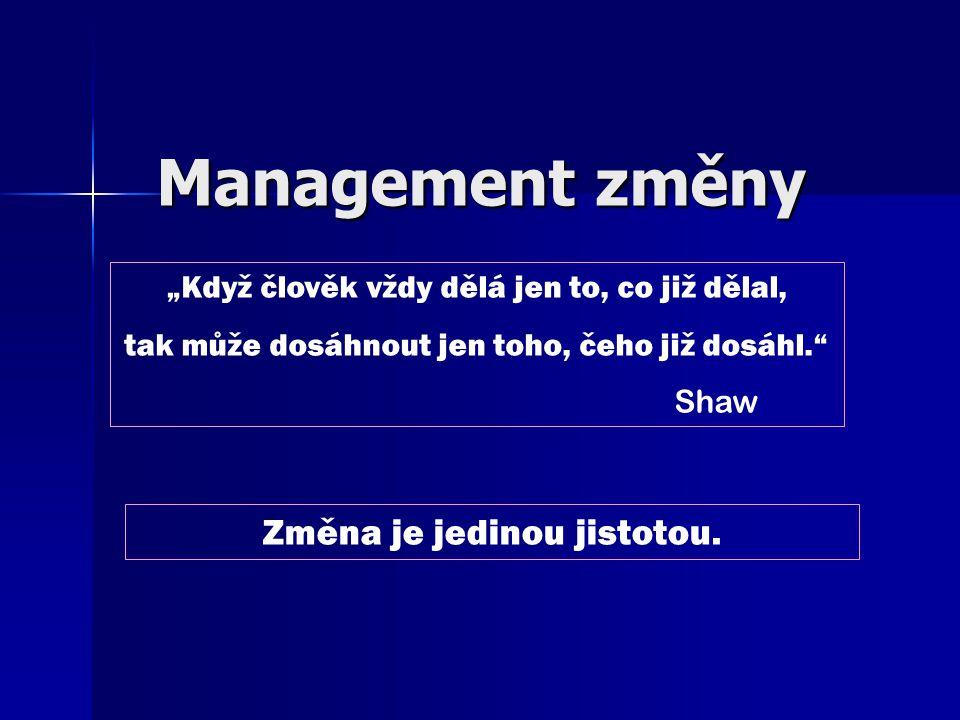 Management změny (MoC – Management of Change) Směr managementu spočívá v připravenosti reakcí –n–n–n–na vnější podněty –v–v–v–vnitřní podněty zaměřený na –v–v–v–volbu předmětu změny –p–p–p–pružnou přípravu změny –r–r–r–realizaci změny –p–p–p–přijetí a stabilizaci změny