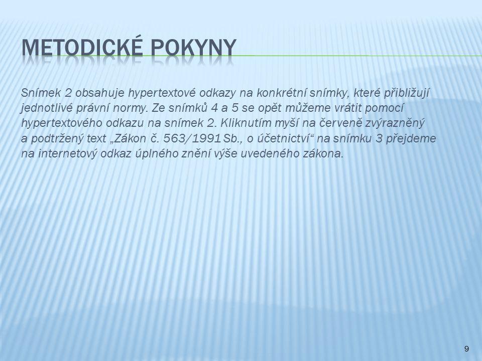 Snímek 2 obsahuje hypertextové odkazy na konkrétní snímky, které přibližují jednotlivé právní normy.