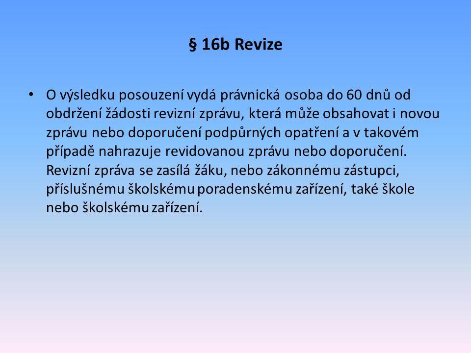 § 16b Revize O výsledku posouzení vydá právnická osoba do 60 dnů od obdržení žádosti revizní zprávu, která může obsahovat i novou zprávu nebo doporuče