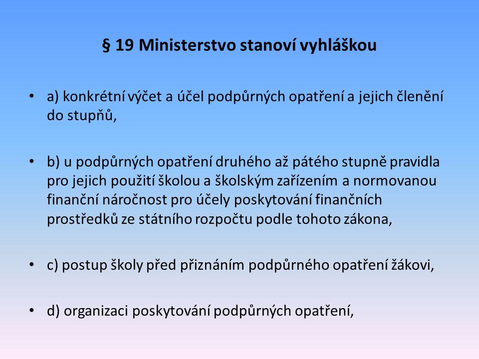 § 19 Ministerstvo stanoví vyhláškou a) konkrétní výčet a účel podpůrných opatření a jejich členění do stupňů, b) u podpůrných opatření druhého až páté