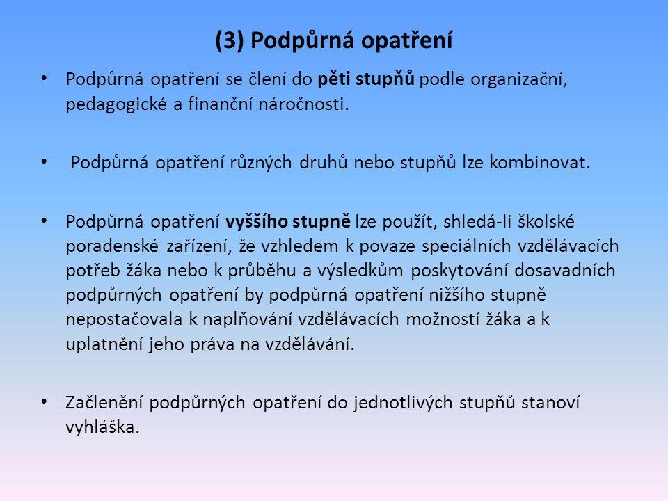 (3) Podpůrná opatření Podpůrná opatření se člení do pěti stupňů podle organizační, pedagogické a finanční náročnosti. Podpůrná opatření různých druhů