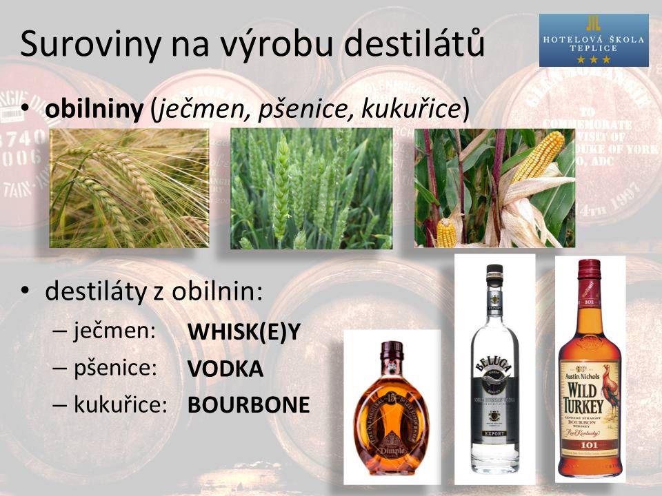 Suroviny na výrobu destilátů obilniny (ječmen, pšenice, kukuřice) destiláty z obilnin: – ječmen: – pšenice: – kukuřice: WHISK(E)Y VODKA BOURBONE