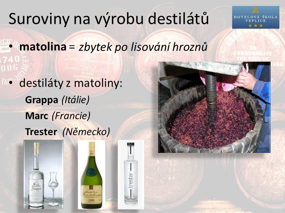 Suroviny na výrobu destilátů matolina = destiláty z matoliny: Grappa (Itálie) Marc (Francie) Trester (Německo) zbytek po lisování hroznů