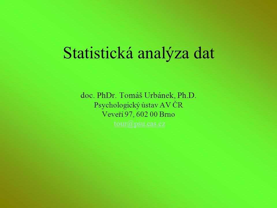 Osnova kurzu Základní pojmy Popisné statistiky –jednorozměrně indexy –vícerozměrné indexy (vztahy) Rozložení dat Testování hypotéz –hladina významnosti –síla testu Konkrétní postupy –testy rozložení –kontingenční tabulky –test chí-kvadrátu –t-testy –ANOVA –korelační analýzy –regresní analýza –atd.