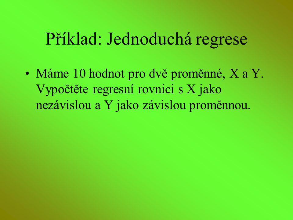 Příklad: Jednoduchá regrese Máme 10 hodnot pro dvě proměnné, X a Y. Vypočtěte regresní rovnici s X jako nezávislou a Y jako závislou proměnnou.