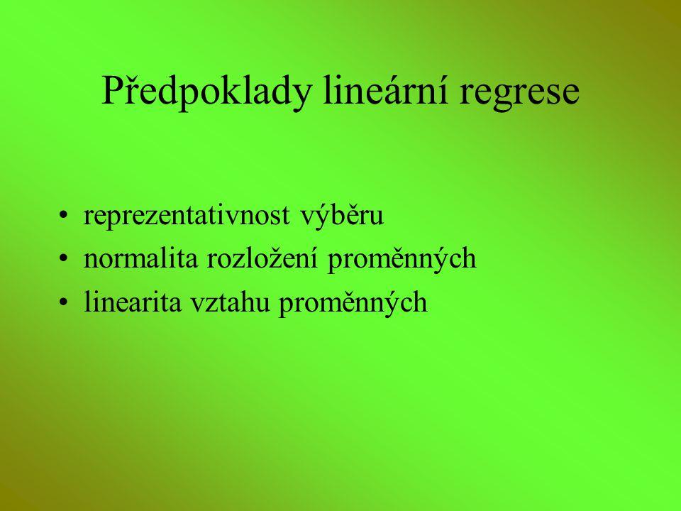 Předpoklady lineární regrese reprezentativnost výběru normalita rozložení proměnných linearita vztahu proměnných