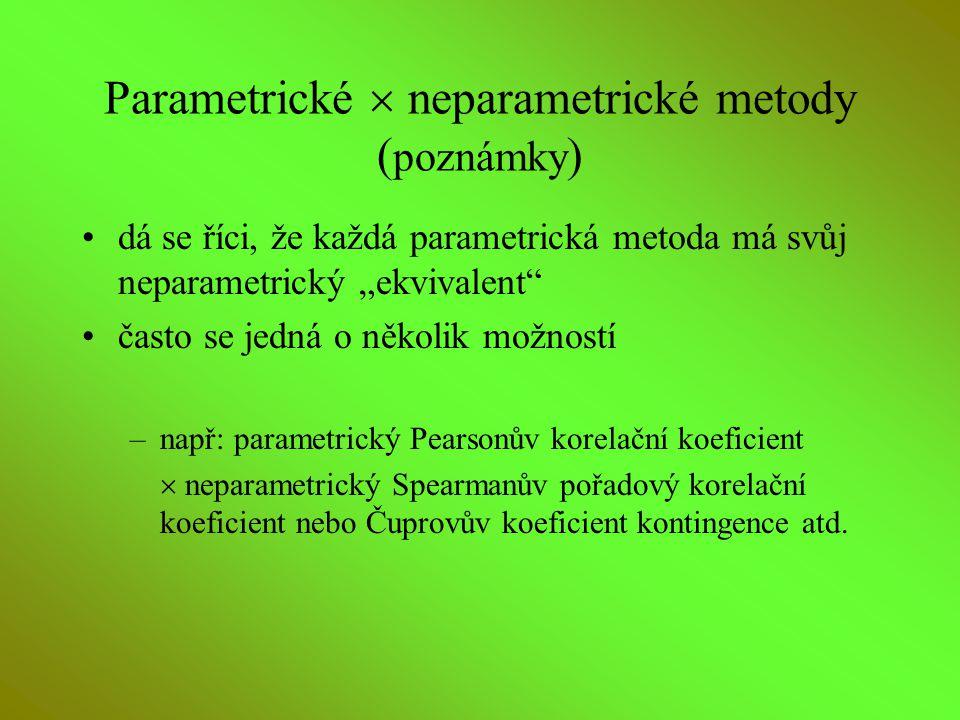 "Parametrické  neparametrické metody ( poznámky ) dá se říci, že každá parametrická metoda má svůj neparametrický ""ekvivalent"" často se jedná o několi"