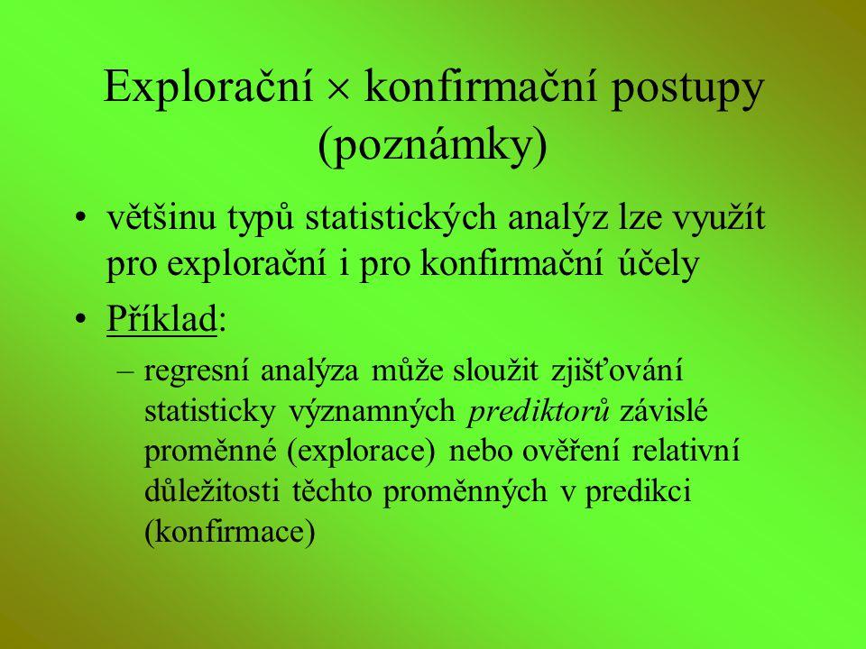 Explorační  konfirmační postupy (poznámky) většinu typů statistických analýz lze využít pro explorační i pro konfirmační účely Příklad: –regresní ana