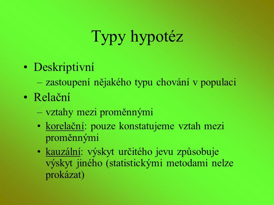 Typy hypotéz Deskriptivní –zastoupení nějakého typu chování v populaci Relační –vztahy mezi proměnnými korelační: pouze konstatujeme vztah mezi proměn