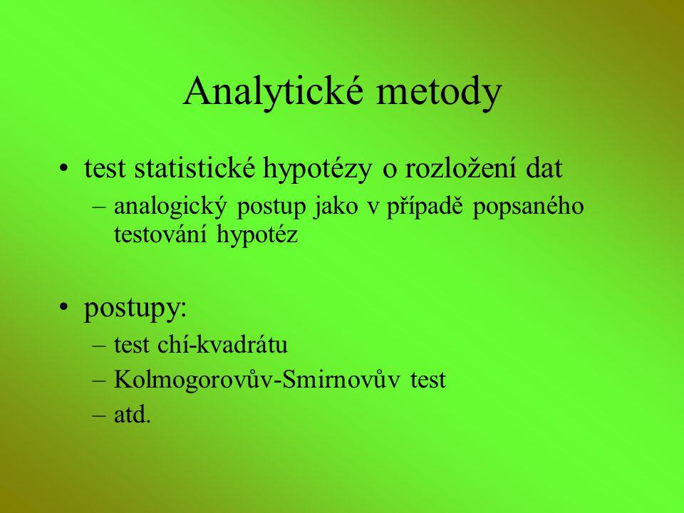 Analytické metody test statistické hypotézy o rozložení dat –analogický postup jako v případě popsaného testování hypotéz postupy: –test chí-kvadrátu