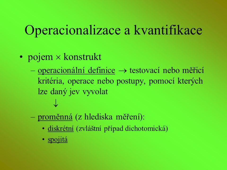 Operacionalizace a kvantifikace pojem  konstrukt –operacionální definice  testovací nebo měřicí kritéria, operace nebo postupy, pomocí kterých lze d