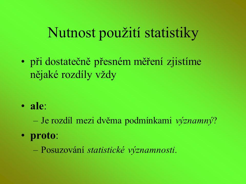Nutnost použití statistiky při dostatečně přesném měření zjistíme nějaké rozdíly vždy ale: –Je rozdíl mezi dvěma podmínkami významný? proto: –Posuzová