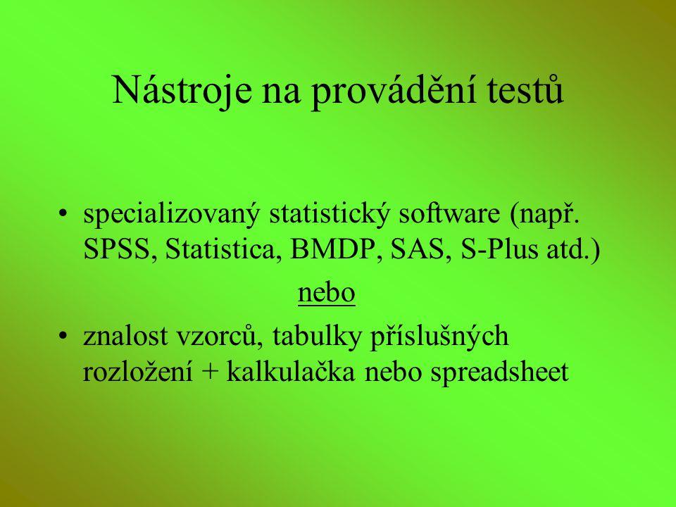 Nástroje na provádění testů specializovaný statistický software (např. SPSS, Statistica, BMDP, SAS, S-Plus atd.) nebo znalost vzorců, tabulky příslušn