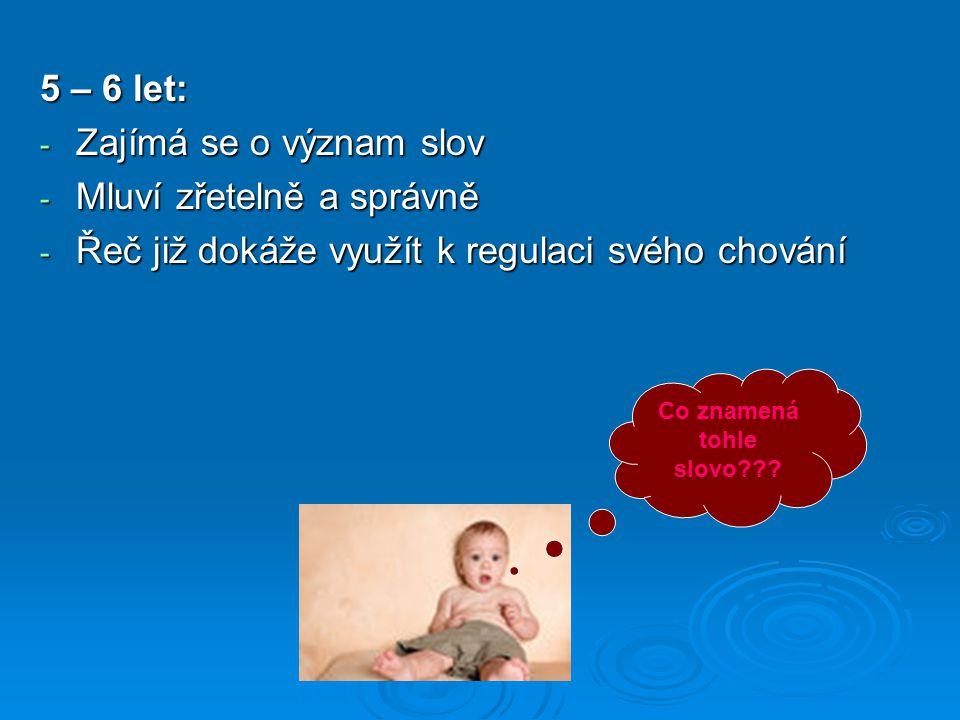 5 – 6 let: - Zajímá se o význam slov - Mluví zřetelně a správně - Řeč již dokáže využít k regulaci svého chování Co znamená tohle slovo???