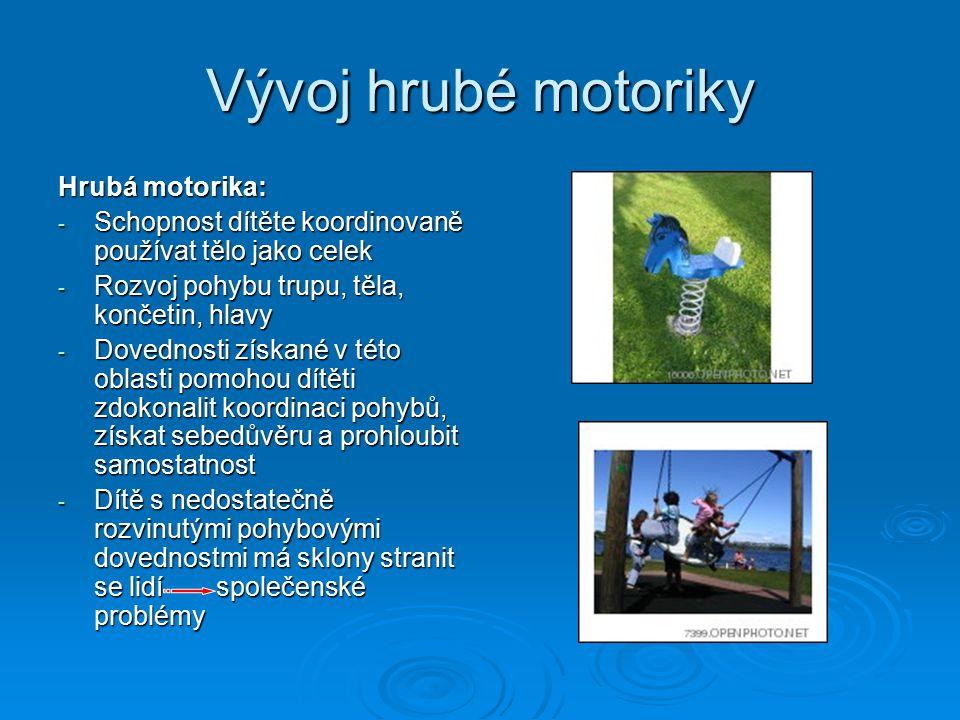 Vývoj hrubé motoriky Hrubá motorika: - Schopnost dítěte koordinovaně používat tělo jako celek - Rozvoj pohybu trupu, těla, končetin, hlavy - Dovednosti získané v této oblasti pomohou dítěti zdokonalit koordinaci pohybů, získat sebedůvěru a prohloubit samostatnost - Dítě s nedostatečně rozvinutými pohybovými dovednostmi má sklony stranit se lidí společenské problémy