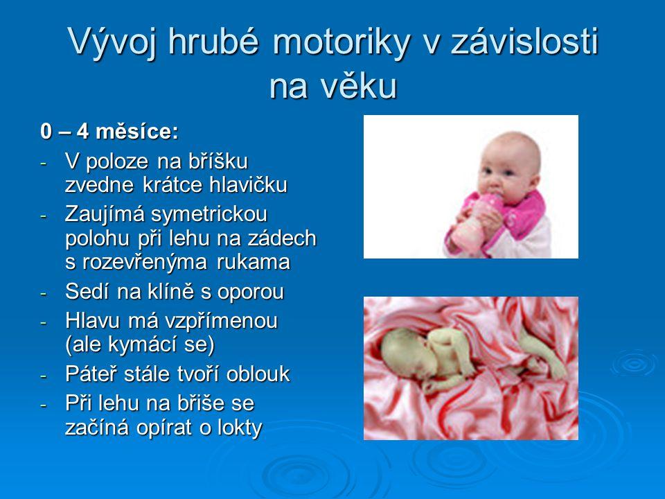 Vývoj hrubé motoriky v závislosti na věku 0 – 4 měsíce: - V poloze na bříšku zvedne krátce hlavičku - Zaujímá symetrickou polohu při lehu na zádech s rozevřenýma rukama - Sedí na klíně s oporou - Hlavu má vzpřímenou (ale kymácí se) - Páteř stále tvoří oblouk - Při lehu na břiše se začíná opírat o lokty