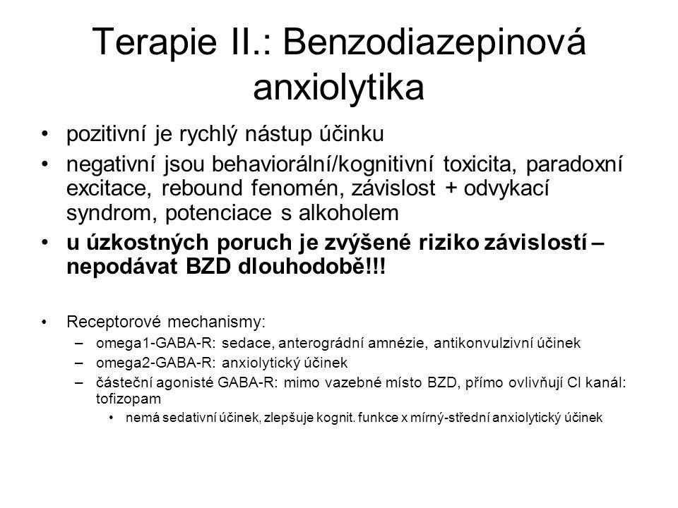 Terapie II.: Benzodiazepinová anxiolytika pozitivní je rychlý nástup účinku negativní jsou behaviorální/kognitivní toxicita, paradoxní excitace, rebou