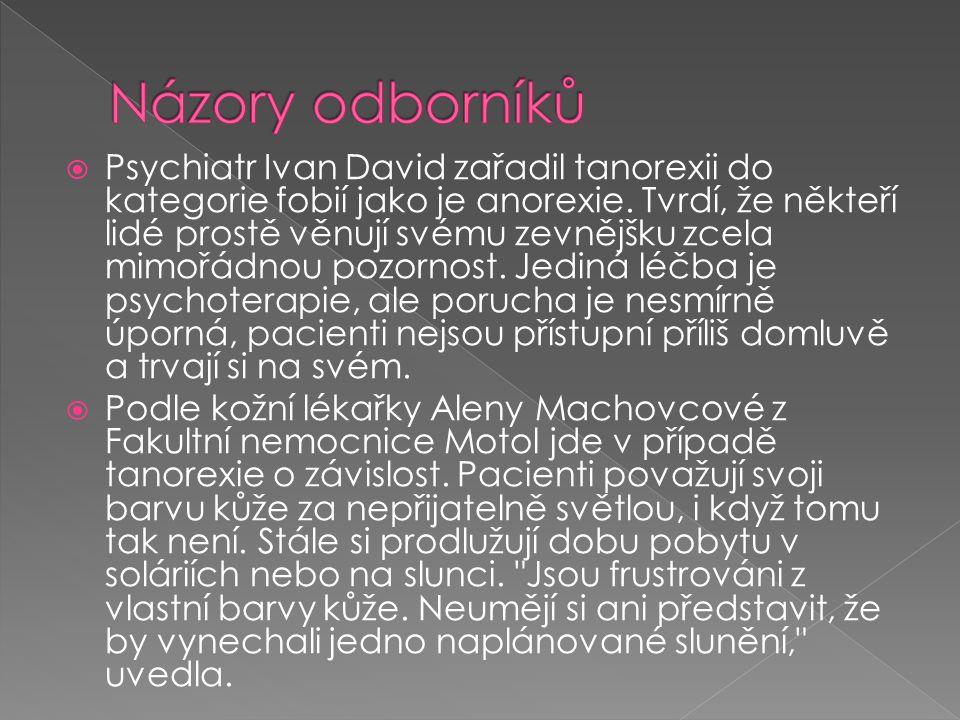  Psychiatr Ivan David zařadil tanorexii do kategorie fobií jako je anorexie. Tvrdí, že někteří lidé prostě věnují svému zevnějšku zcela mimořádnou po
