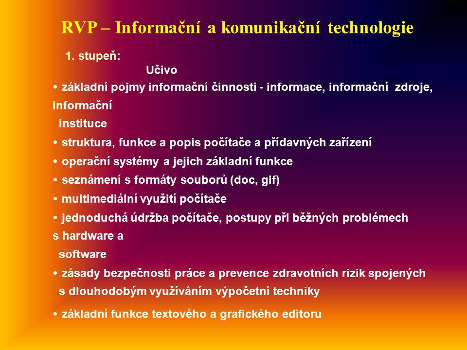 RVP – Informační a komunikační technologie Učivo  základní pojmy informační činnosti - informace, informační zdroje, informační instituce  struktura, funkce a popis počítače a přídavných zařízení  operační systémy a jejich základní funkce  seznámení s formáty souborů (doc, gif)  multimediální využití počítače  jednoduchá údržba počítače, postupy při běžných problémech s hardware a software  zásady bezpečnosti práce a prevence zdravotních rizik spojených s dlouhodobým využíváním výpočetní techniky  základní funkce textového a grafického editoru 1.