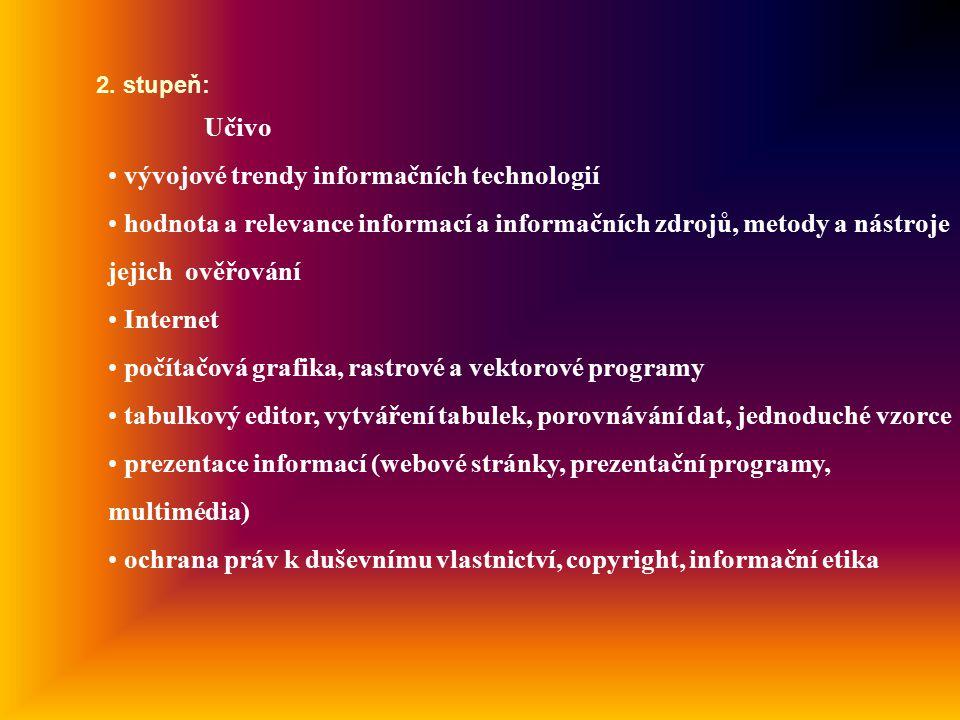 Učivo vývojové trendy informačních technologií hodnota a relevance informací a informačních zdrojů, metody a nástroje jejich ověřování Internet počítačová grafika, rastrové a vektorové programy tabulkový editor, vytváření tabulek, porovnávání dat, jednoduché vzorce prezentace informací (webové stránky, prezentační programy, multimédia) ochrana práv k duševnímu vlastnictví, copyright, informační etika 2.