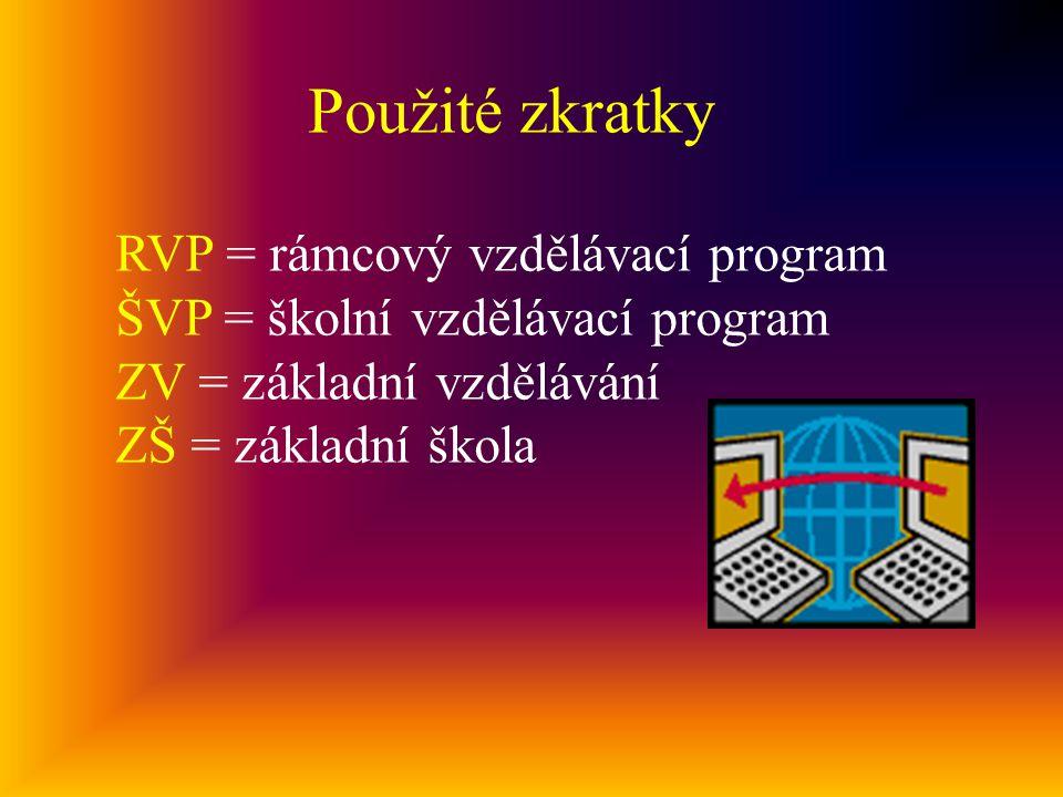 Použité zkratky RVP = rámcový vzdělávací program ŠVP = školní vzdělávací program ZV = základní vzdělávání ZŠ = základní škola